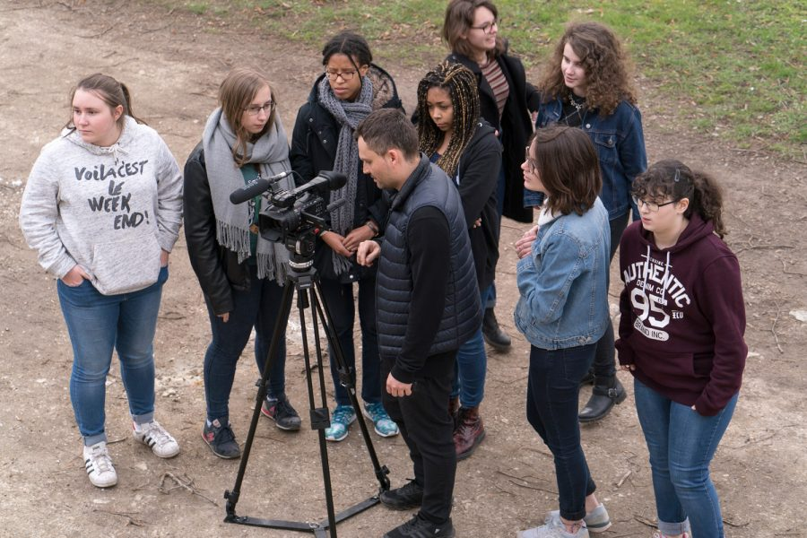 Image du tournage «À juste titre» par des élèves de 1ère du lycée Michelet