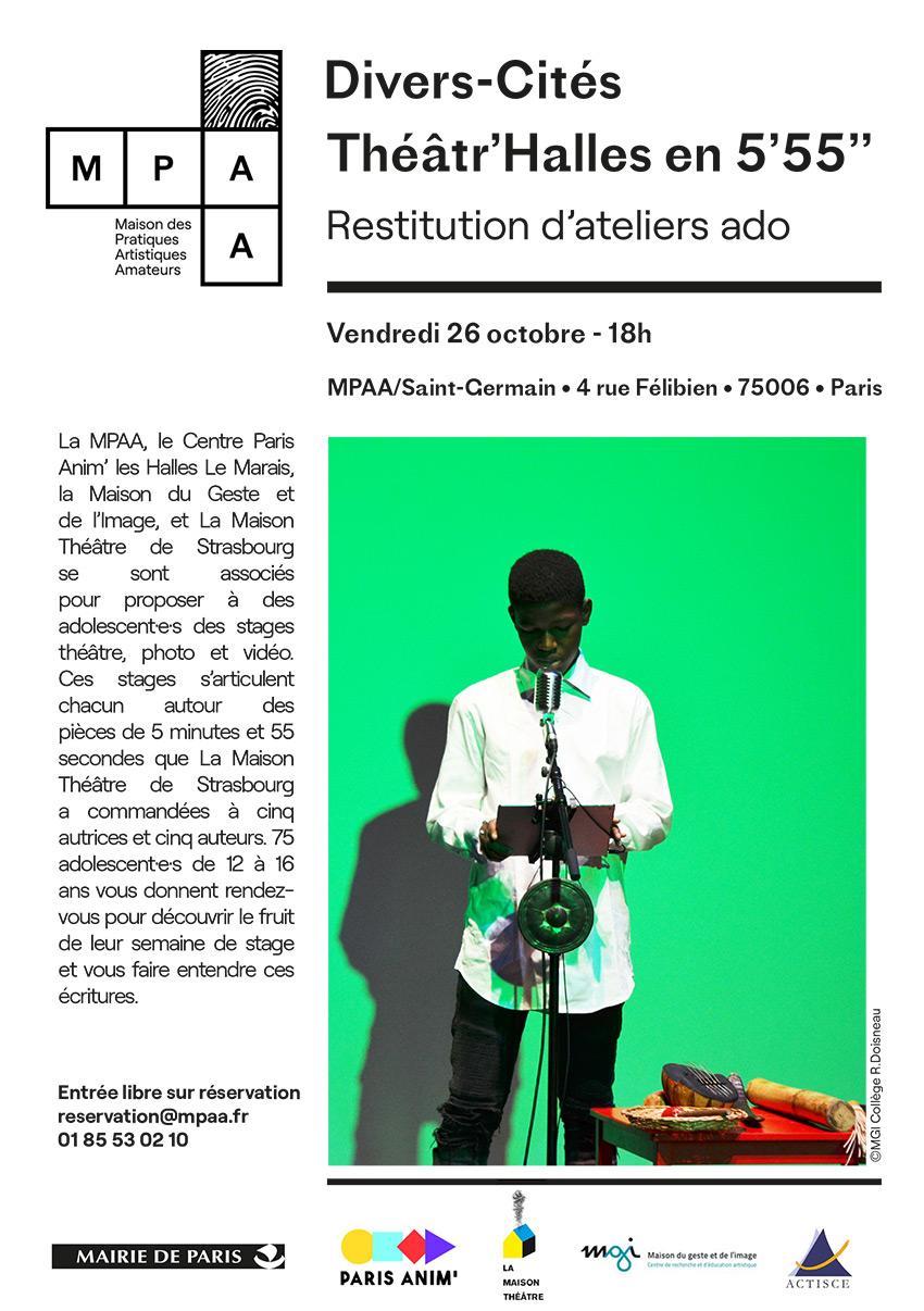<strong>Divers-Cités 2 – Restitution des stages ados Toussaint – Théâtre, photo et vidéo</strong>