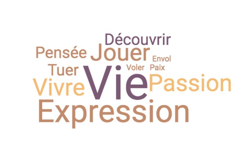 Jouer, Vivre, Vie, Passion, Tuer, Découvrir, Pensée, Voler, Expression, Expression, Paix, Envol, Expression
