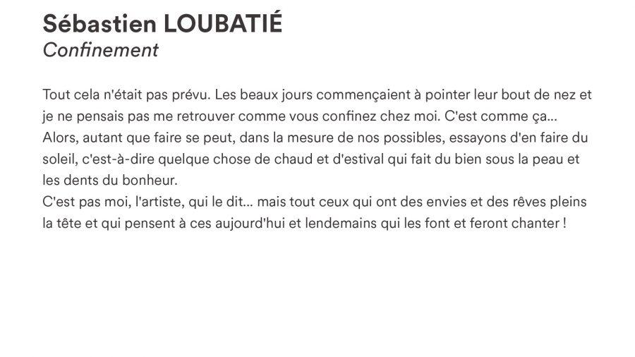 Sébastien LOUBATIÉ · <i>Confinement</i>