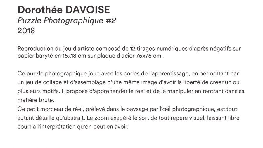 Dorothée DAVOISE · <i>Puzzle Photographique #2</i> · 2018